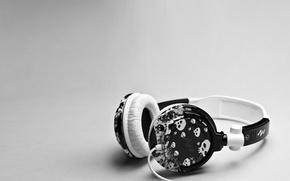 Wallpaper Wallpaper, headphones, grey, black