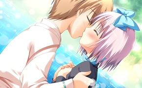 Picture kiss, anime, art, pair, two, kissing games