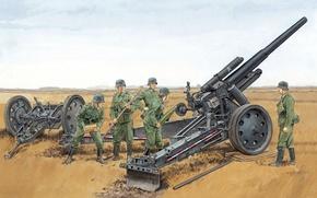 Picture war, figure, art, position, equipment, WW2, howitzer, German, heavy, field, the gunners, sFH 18, 150 …