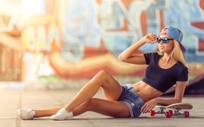 Wallpaper sneakers, graffiti, wall, figure, slim, t-shirt, shorts, girl, cap, glasses, skate, skateboard, pose, blonde, bokeh, ...