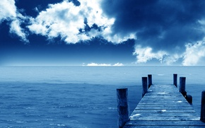 Wallpaper sea, pier, blue, clouds, Horizon