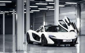 Picture McLaren, White, Supercar, 2014, Door, Underground Parking