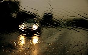 Wallpaper threads, glass, road, the shower, rain, water, night, drops