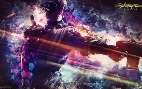 Picture abstract, gun, background, man, video games, CyberPunk 2077