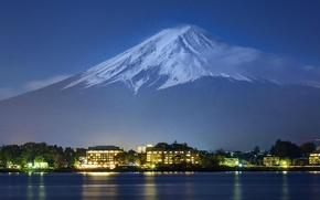 Picture lights, the evening, Tokyo, Japan, Fuji