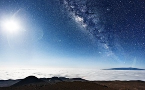 Picture glare, planet, stars, Space, galaxy
