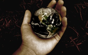 Wallpaper ball, earth, planet, hand