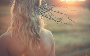 Picture girl, tenderness, Sunset