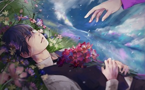 Picture the sky, clouds, flowers, smile, rain, hand, anime, art, headband, guy, Tokyo ghoul, Tokyo Ghoul, …