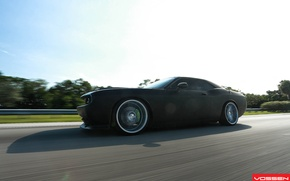 Picture road, asphalt, Dodge, SRT8, Challenger, CVT, Vossen, Wheels