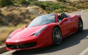 Picture road, speed, Ferrari, red, road, speed, Spider, 458 Italia