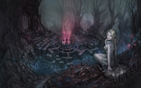 Wallpaper thicket, magic, art, trees, the door, sitting, glow, fantasy, girl, bowl, stones