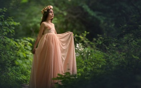 Picture forest, mood, dress, girl, wreath
