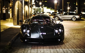 Picture night, the city, Pagani, supercar, Zonda, the front, luxury