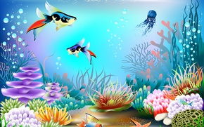 Wallpaper fish, bubbles, vector, corals, underwater world