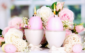 Picture roses, eggs, candles, Easter, flowers, Easter, candles