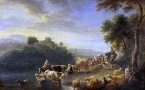 Picture animals, trees, river, picture, Adrian Frans Boudewyns, Landscape with Cows