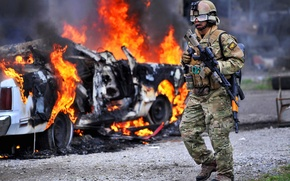 Picture road, fire, Machine, soldiers, rifle, equipment