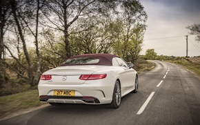 Picture auto, Mercedes-Benz, speed, Mercedes, back, AMG, Cabriolet, exhausts, S 500, AMG line