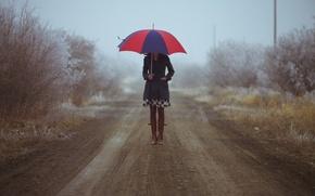 Picture road, autumn, girl, boots, umbrella