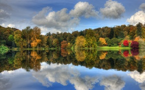 Picture the sky, clouds, trees, lake, Park, reflection, foliage, Autumn, colorful