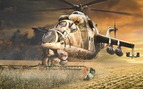Picture field, harvest, art, helicopter, cereals, Mi-24, lawn mower
