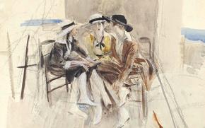 Picture picture, watercolor, genre, Giovanni Boldini, Three Women Talking on the Terrace