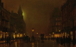 Picture light, night, the city, people, street, home, picture, lights, bridge, showcase, coach, John Atkinson Grimshaw