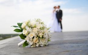 Wallpaper the bride, wedding, blur, wedding bouquet, close-up, the groom