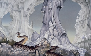 Picture snakes, stones, rocks, art, riders, caves, Roger Dean