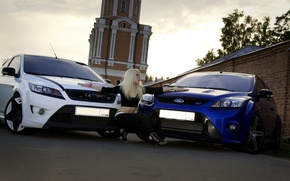 Picture road, the sky, girl, Ford, Girls, hairstyle, blonde, cars