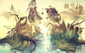 Picture trees, creative, rocks, elephant, deer, raccoon, emblem, drink, desktopography, water lilies