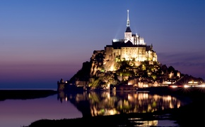 Picture the sky, water, lights, reflection, castle, lilac, France, island, the evening, backlight, fortress, blue, France, ...