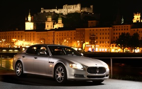 Wallpaper machine, night, Maserati, silver, Quattroporte S