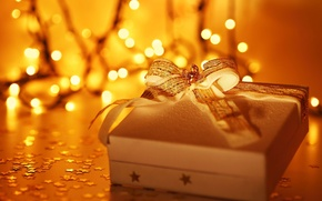 Picture holiday, box, gift, widescreen, blur, HD wallpapers, Wallpaper, full screen, background, stars, present, widescreen, tape, ...