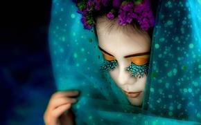 Picture girl, flowers, eyelashes, makeup, shawl