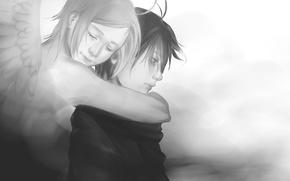 Picture girl, wings, angel, anime, art, hugs, guy, two, shou shizuku