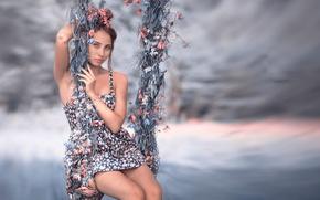 Picture girl, swing, legs, Marina