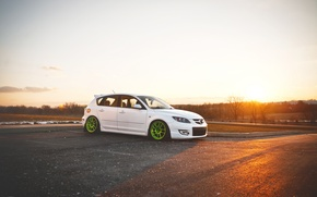 Wallpaper tuning, white, Speed, Mazda 3, tuning, Mazda