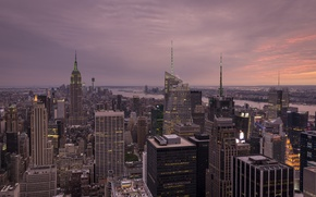 Picture the city, river, New York, skyscrapers, twilight, New York City