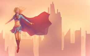 Picture minimalism, flight, girl, Supergirl, building, sunset