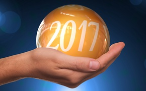 Picture glare, 2017, new year, new 2017, background, date, yellow, blue, Shine, ball, palm, ball, hand, ...
