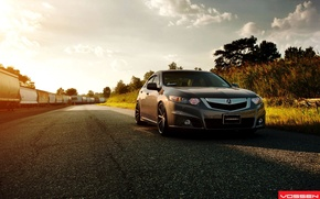 Picture Sunset, The evening, Tuning, Beautiful, Car, Car, Wallpapers, Tuning, Acura, Wallpaper, Vossen, Wheels, TSX, Acura