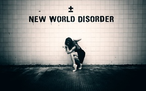 Picture girl, wall, Pointe shoes, New World Disorder