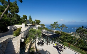 Picture sea, the city, Villa, view, yachts, horizon, Bay, terrace
