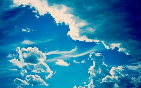 Picture the sky, clouds, blue, clear