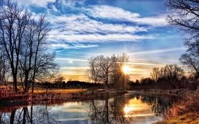 Wallpaper Bank, trees, Spring, river, sunset