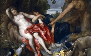 Picture picture, mythology, Seen A Satyr, Anthony van Dyck, Diana and Nymphs