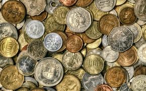 Picture money, coins, detail