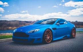 Picture Vantage, Aston, Martin, Car, Blue, Front, V12, Sport, Road, Stancenation